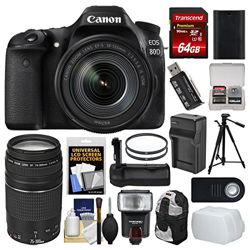 Canon EOS 80D Wi-Fi Digital SLR Camera & EF-S 18-135mm IS USM + 75-300mm III Lens + 64GB Card + Case + Flash + Battery & Charger + Grip + Tripod Kit