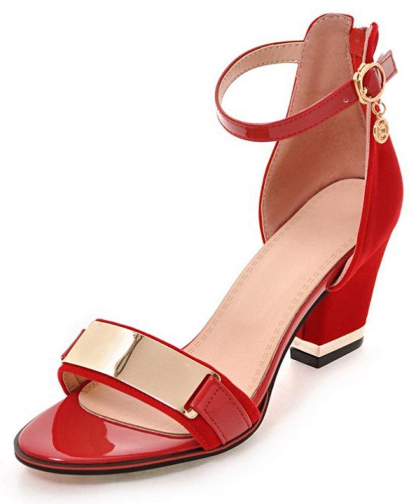 Easemax Damen Huuml;bsch Metall Accessoire Peep Toe Band Blockabsatz Sandalen38 EU|Rot