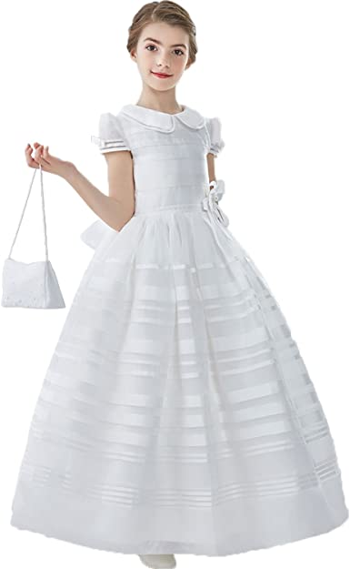 New Girl/'s White Pageant Organza Full Length Ball Gown 2 4 6 8 10 12