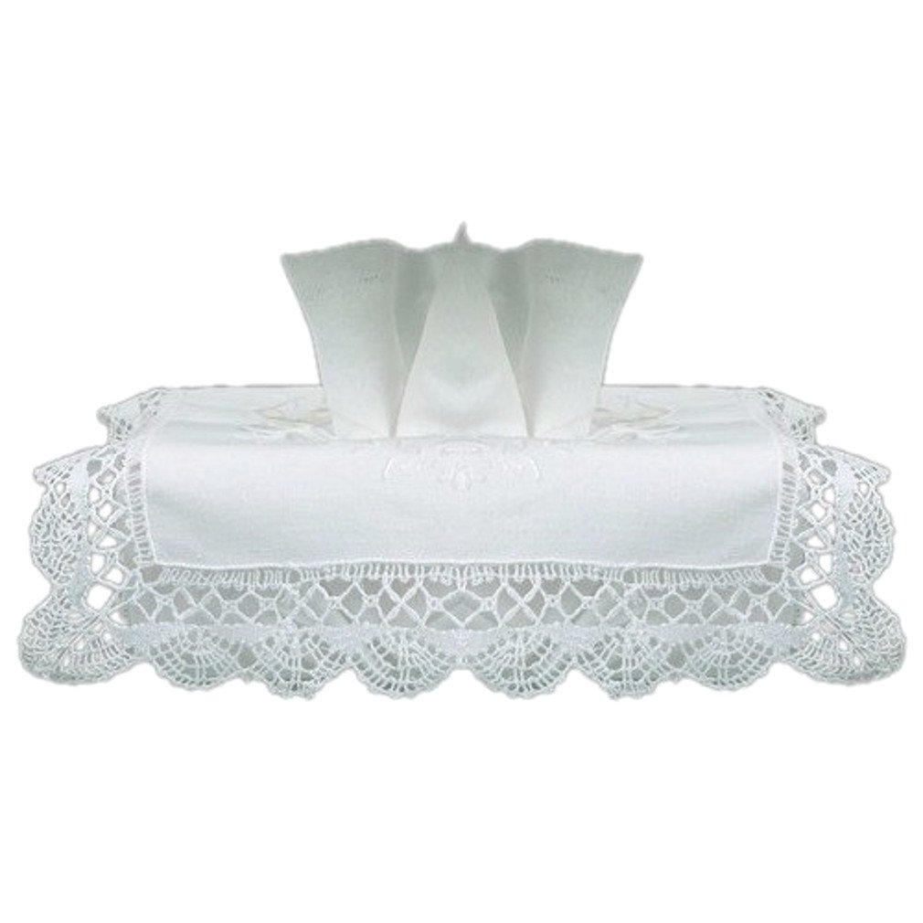 Tissue Box Cover White Cotton Rectangular with Cluny Lace