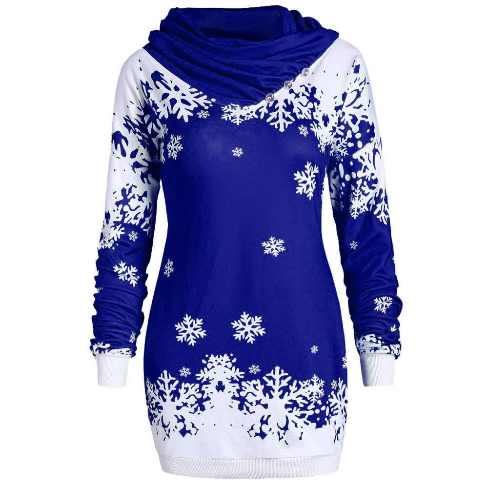 Hanomes Weihnachten Pullover,Mode Frauen Frohe Weihnachten Schneeflocke Gedruckt Pullover Lange Sweatshirt Slim Fit Pullover Wasserfallausschnitt Langarm Tops