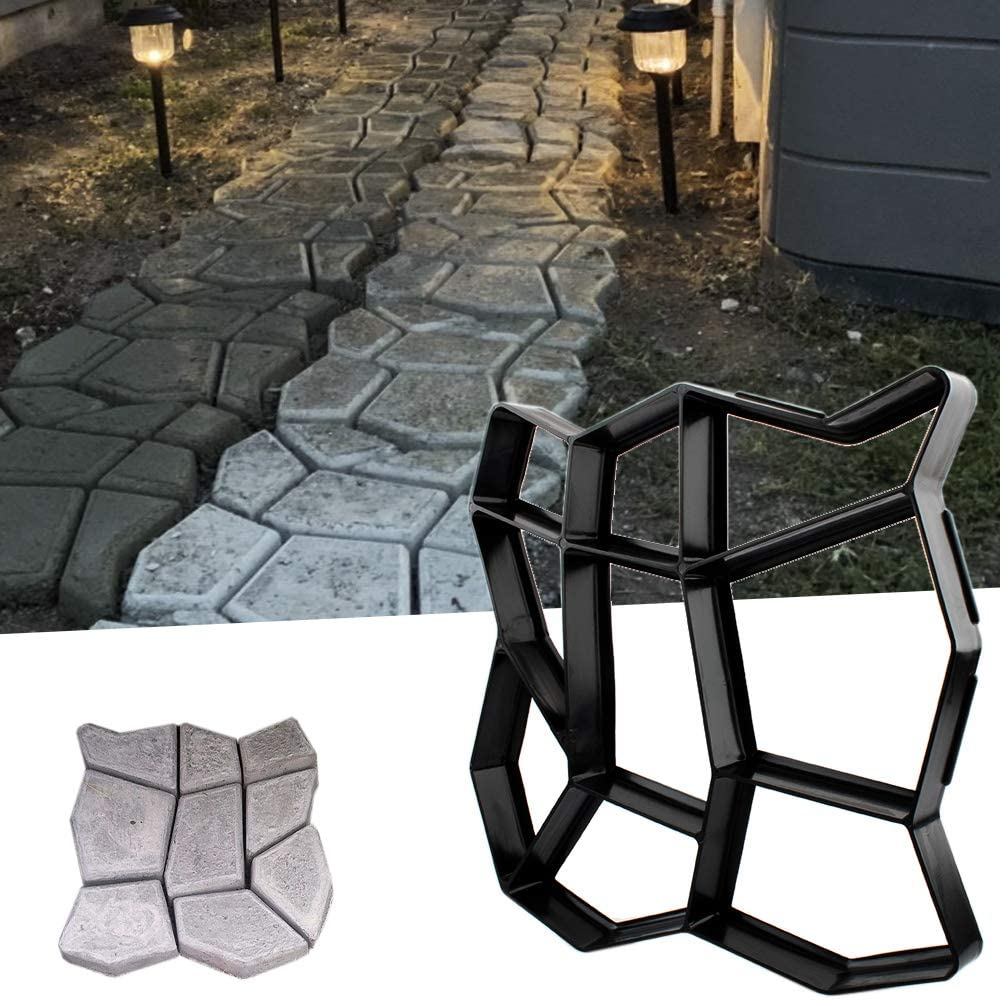 "CJGQ 13.4""x13.4""x1.42"" Walk Maker Reusable Concrete Path Maker Molds Stepping Stone Paver Lawn Patio Yard Garden DIY Walkway Pavement Paving Moulds (Irregular)"