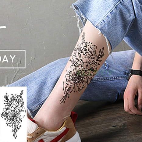 ljmljm 4 Piezas Impermeable Tatuaje Pegatina Flor Diamante patrón ...