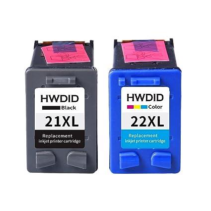 HWDID remanufacturados cartuchos de tinta de repuesto para HP 21 XL negro (C9351AE) cartucho HP 22 XL Tricolor (C9352AN) para HP PSC 1410 Ai Series, ...