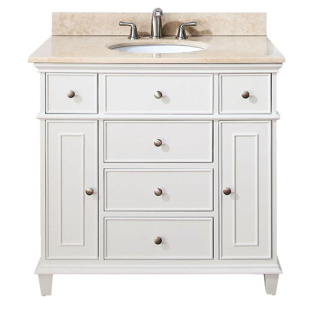 Avanity Windsor 36 In. Vanity With Galala Beige Marble Top And Undermount  Sink In White Finish   Vanity Mirrors   Amazon.com