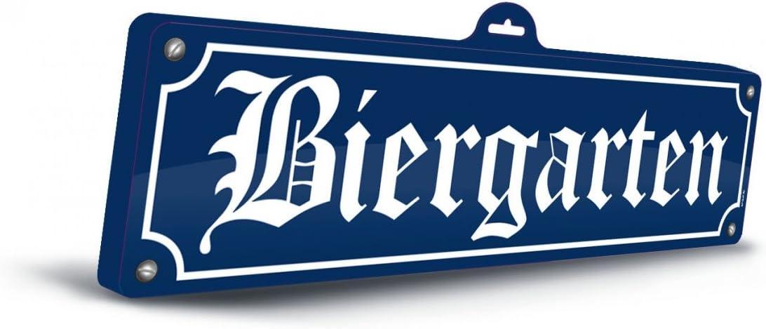 KULTFAKTOR GmbH Oktoberfest - Cartel Decorativo en 3D (13 x 46 cm), diseño de jardín de Cerveza, Color Azul y Blanco