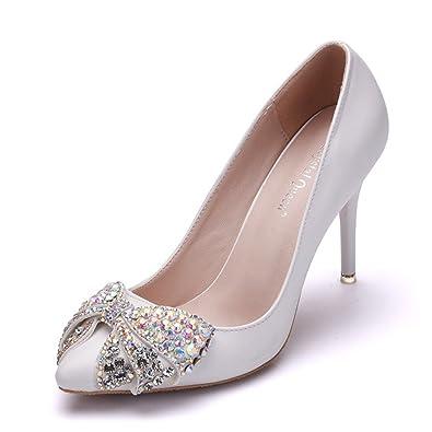 c8bf3b4b7 FORTUN Classic Women s high Heels Bow Rhinestone Sandals Pointed Toe  Wedding Shoes(White 39