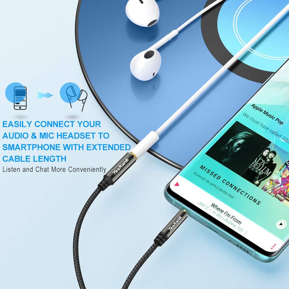 Tesrank Cable Extensi/ón Audio Est/éreo 3,5 mm Macho a Hembra Cable Audio Jack para Auriculares,Xbox,TV,M/óvil,Altavoces,Microf/óno,MP3,Ordenador,Coche,PS4 Cable Alargador Auriculares 1 Metro,4 Pines
