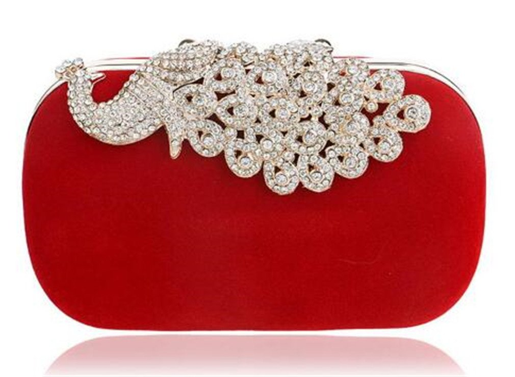 Chain Shoulder Women Evening Bags Velvet Clutch Wedding Party Evening Bags Candy Color Bag by EERLLZ