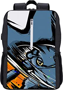 Poke-mon School bookbag,Heracross Megahorn,Laptop Backpack 15.6 Inch with USB Charging,Stylish Business College Travel Casual Daypack for boys and girls