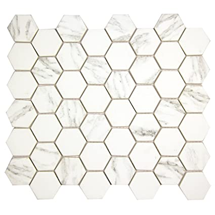 hexacycle carrara white hexagon pattern recycled glass tile for