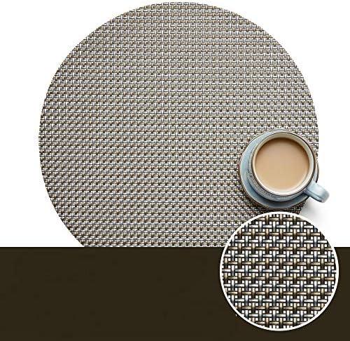 WJ Runde PVC-Platzdeckchen, ausgehöhlt, Westerngeschirr, Isolierung (enthält 6 Stück), grau, 3,35 x 31 cm