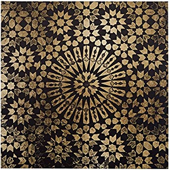 "Rivet Black and Gold Mandala Canvas Print, 16"" x 16"""