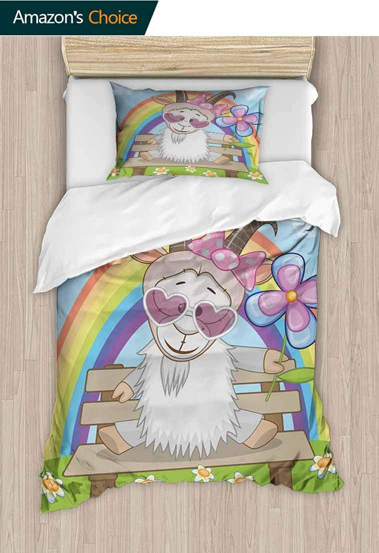Goat Custom Made Quilt Cover and Pillowcase Set, Colorful Animal with Heart Shaped Glasses and Horns Sitting on a Bench under a Rainbow, Decorative 2 Piece Bedding Set with 1 Pillow Sham Multicolor