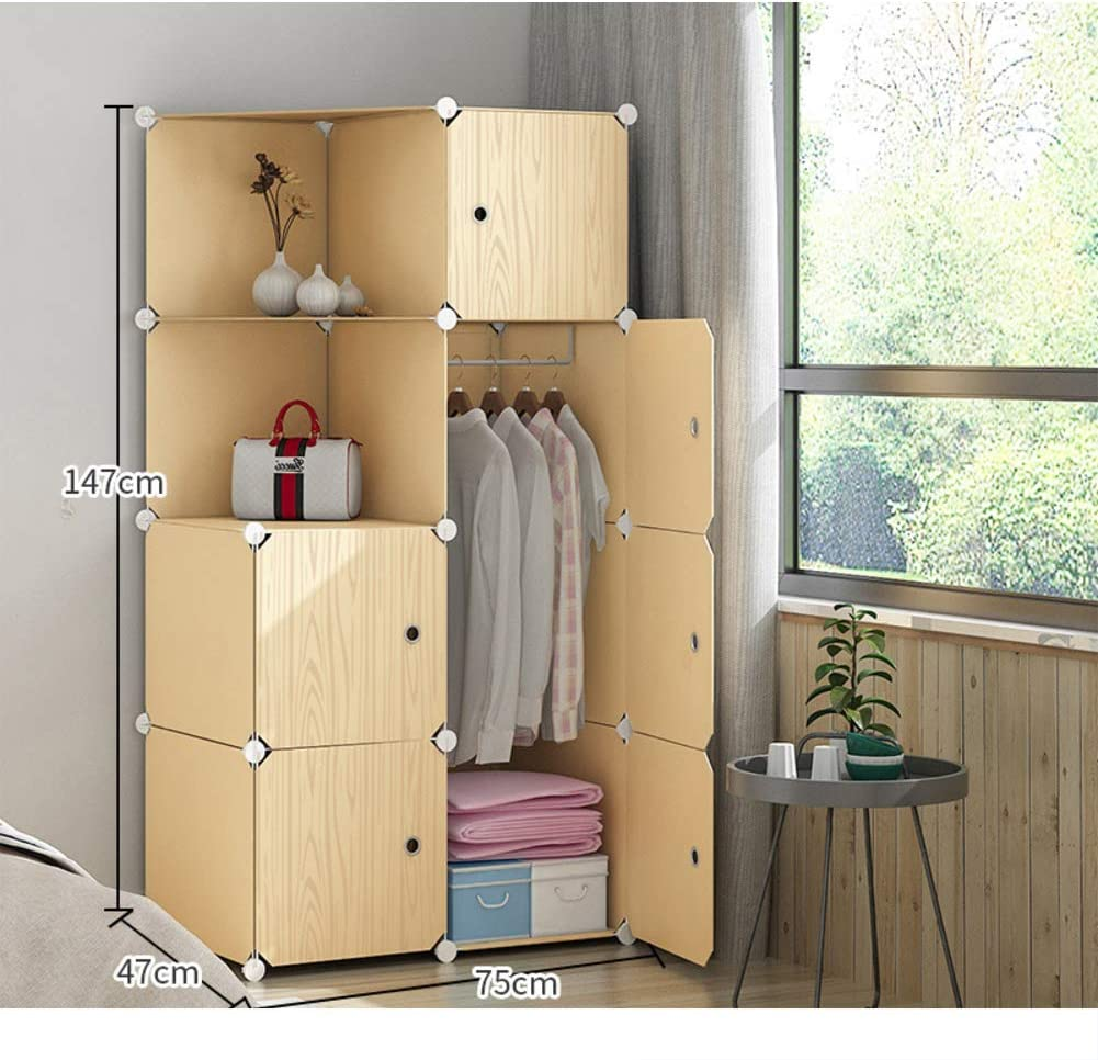 Wardrobe Closets for Bedroom, Portable Resin Wood Pattern Armoire Modular Cabinet Dresser Cubby Shelving Unit for Hanging Clothes-p L75×w47×h147cm(30x19x58 Inch)
