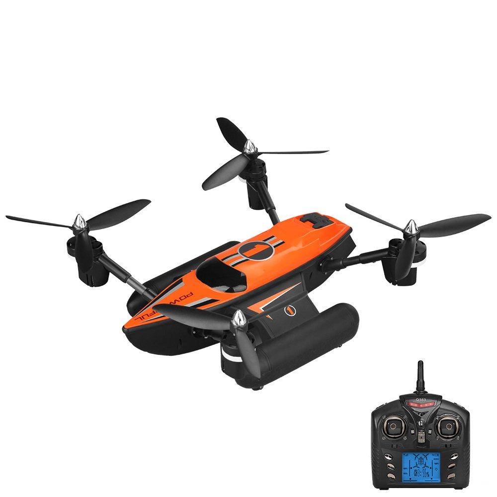 CQL Wireless Telecomando Drone Mare, Terra, Aria Astronave Anfibio Quadcopter deformazione Volo a Vela decollo Funzione Senza Testa Un Tasto Funzione di Ritorno con la Luce,arancia