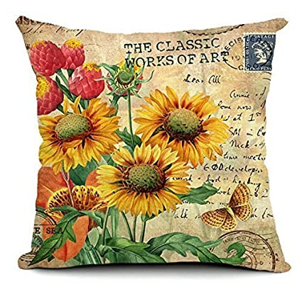 Amazoncom Uoopoo Sunflower Pillow Cover 20 X 20 Inches Square