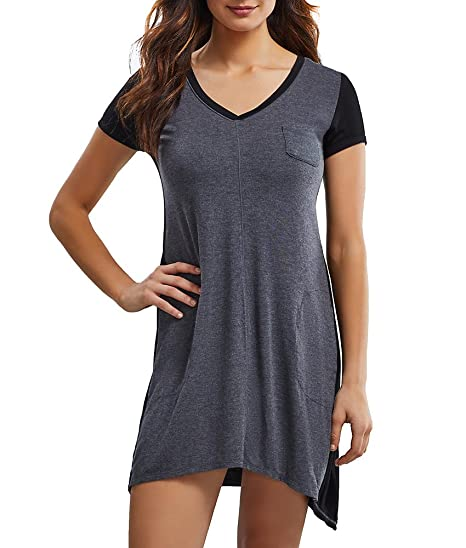DKNY Women s Urban Essentials Short Sleeve Sleepshirt Black Nightgown   Amazon.in  Clothing   Accessories a11c13366