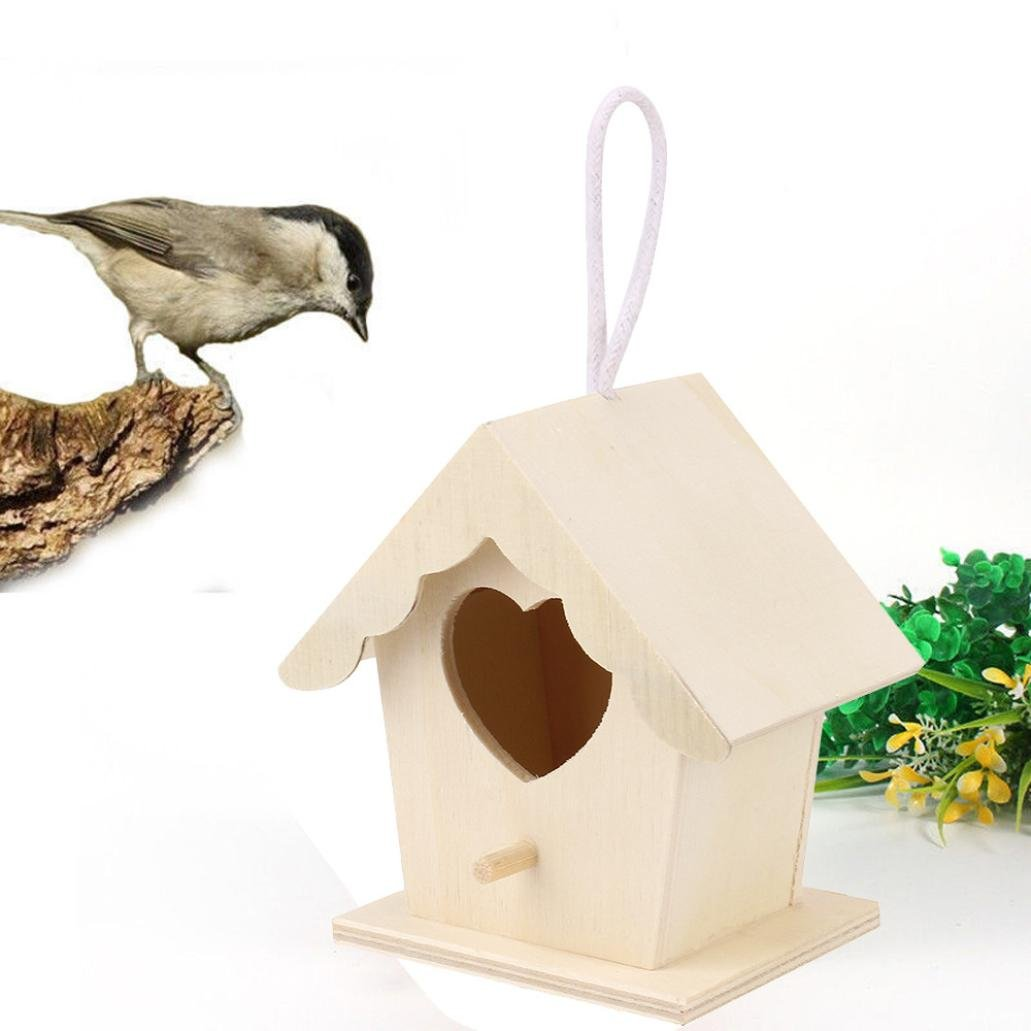 Howleyee Hand-Made Wooden Hanging Bird House for Home Yard,Become a Good Friend with Wild Birds (D)