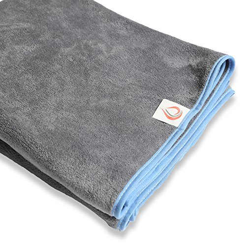 Car Seat Cover by DryGuyTowel Large Absorbent Odor Free Microfiber Towel Covers - Easy On and Off Machine Washable Protector - Universal Fits Most Auto Truck F150 & SUV (Gray/Light Blue)