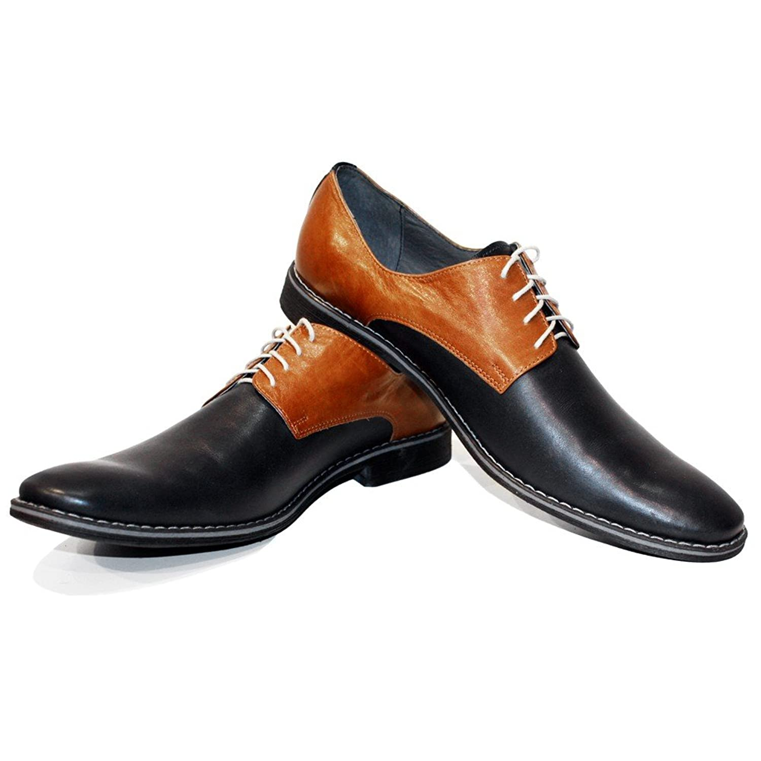 adeecfd54522 Modello Pepperito - Handmade Italian Mens Brown Oxfords Dress Shoes -  Cowhide Smooth Leather - Lace