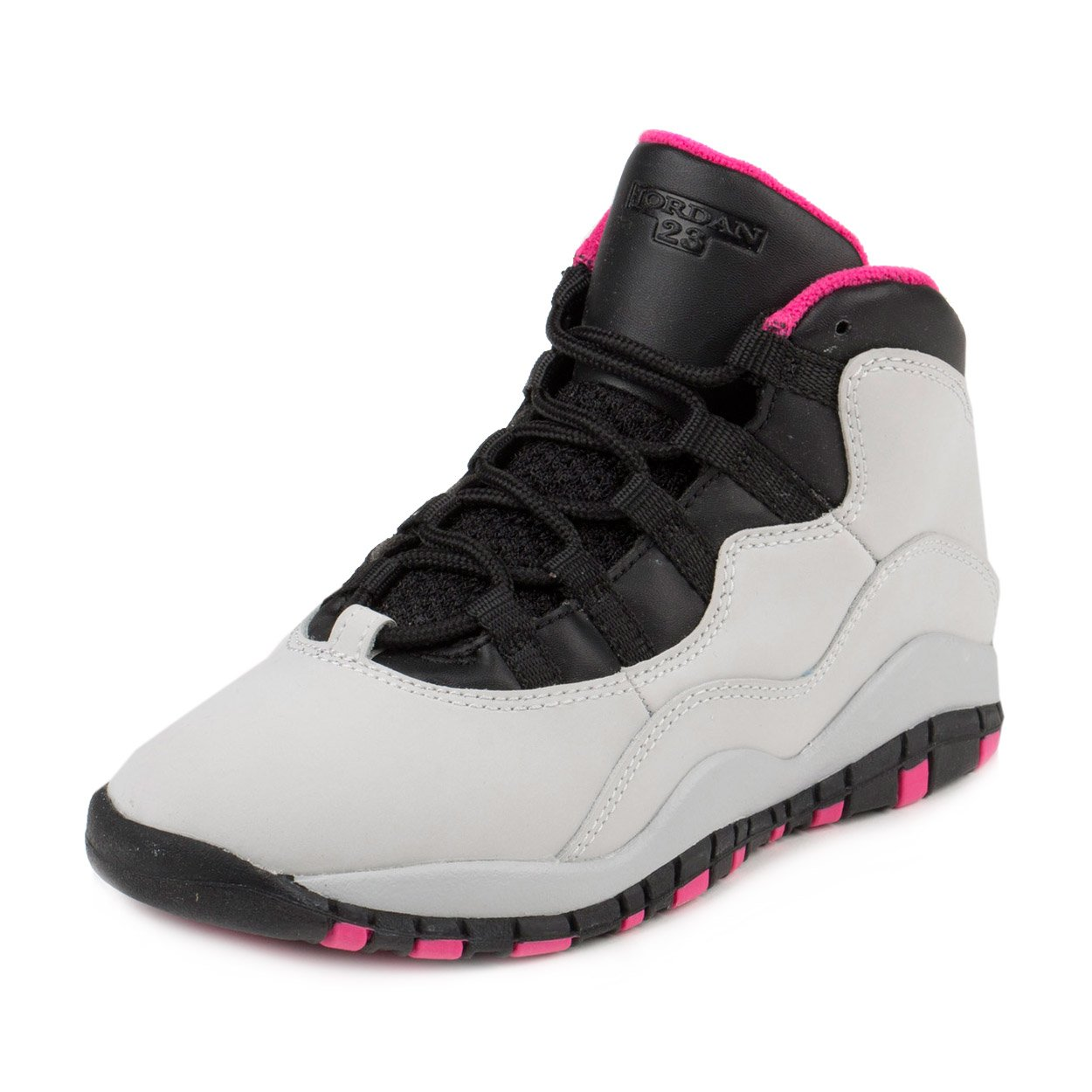 Nike Jordan Kids Jordan 10 Retro Gp Pure Platinum/Vivid Pink/Black Basketball Shoe 1 Kids US by Jordan