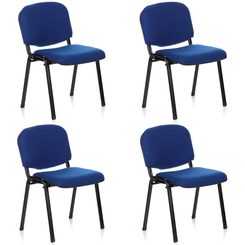 Europrimo Sedia da Ufficio Poltrona Fissa per Sala Attesa Metallo e Cotone Blu
