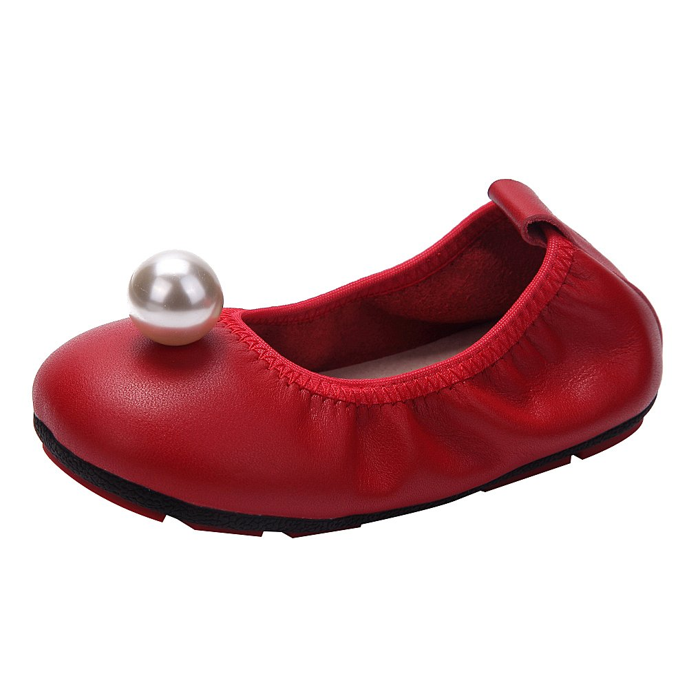 rismart Girls' Slip on Toe Cap Imitation Pearl Classic Cute Leather Ballet Flats SN03067(Red,2 Little Kid US) by rismart