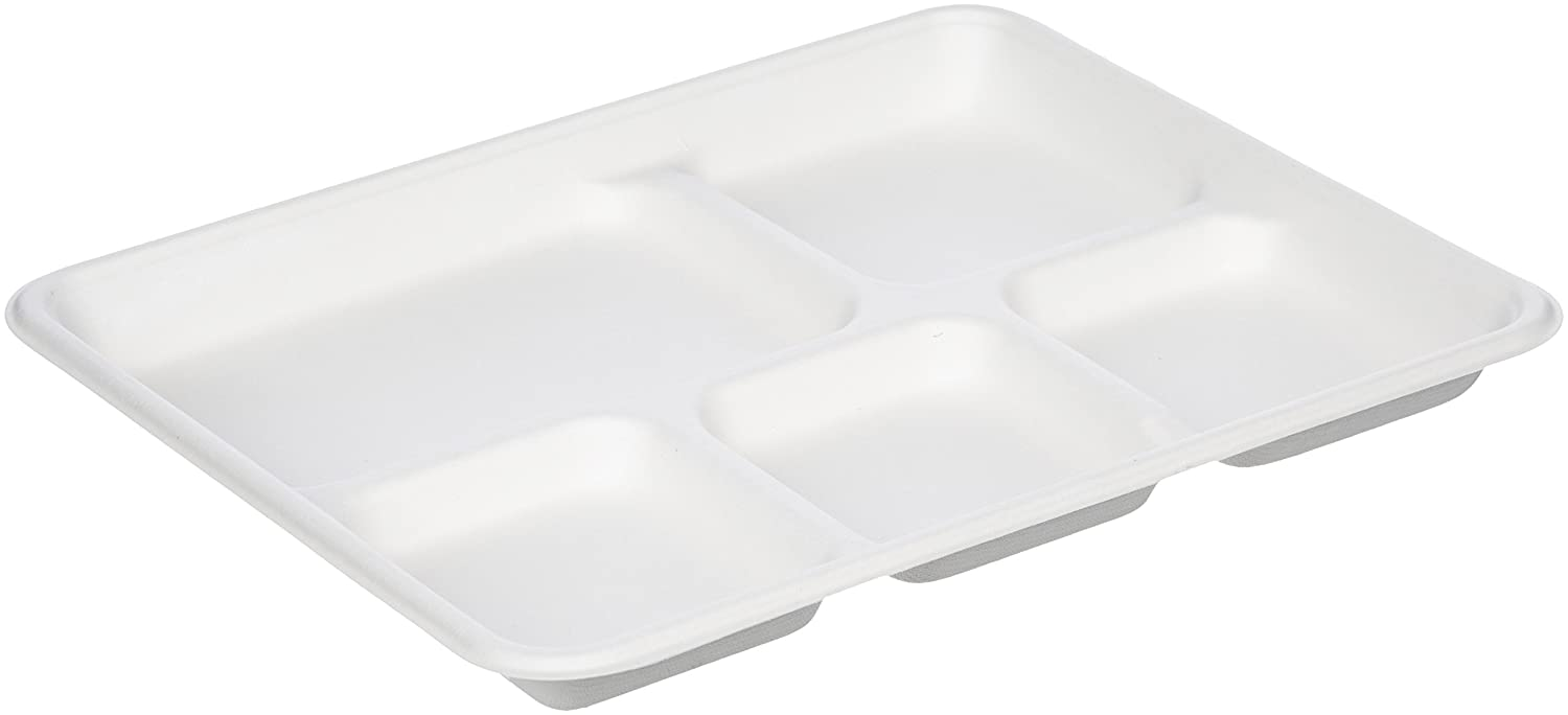 AmazonBasics 5-Compartment Compostable Food Trays, 500-Count