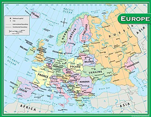Teacher Created Resources Europe Map Chart  Multi Color  7654