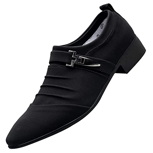 Men s Casual Canvas Leather Slip On Oxford Shoes Pointed Toe Formal  Business Dress Shoes ( 45cea82d8