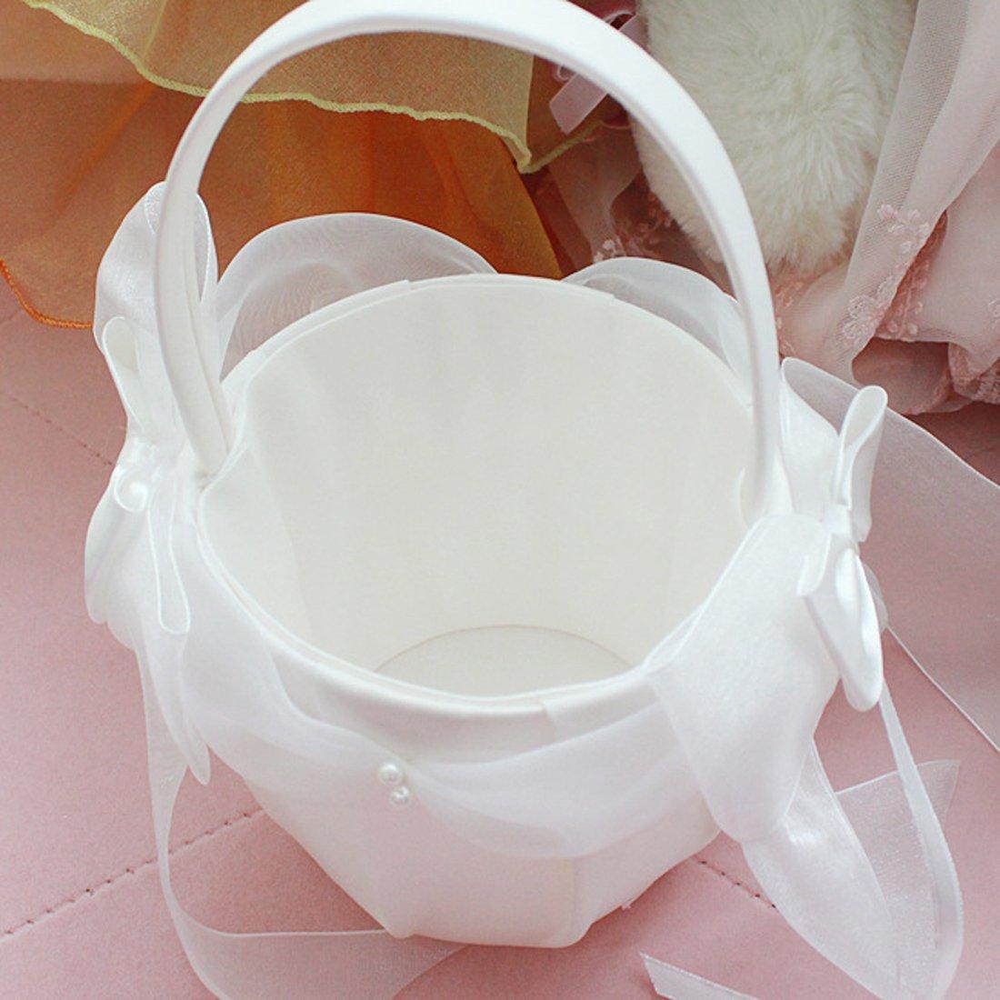 awtlife 2/Rustikal Jute Hochzeit Blumenm/ädchen Korb Pearl Griff f/ür Vintage Rustikal Hochzeitsfeier