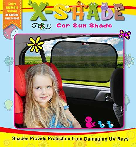 Car Window Shade Sun Screen Keeps Interior Cooler to Protect Baby, Infants & Kids 2 Pcs. With Non-Slip Pad]()
