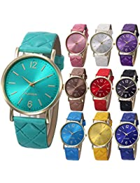 10 Pack Women Men Unisex Platinum Watches Roman Leather Band Analog Quartz Wrist Watch