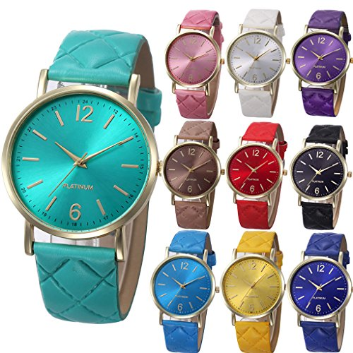 Yunanwa 10 Pack Women Men Unisex Platinum Watches Roman Leather Band Analog Quartz Wrist Watch (Womens Large Faced Watches)
