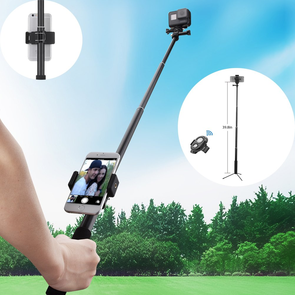 Selfie Stick, Sellemer Extendable and Adjustable Monopod with Fexiable Stand Holder & Bluetooth Camera Remote for iPhone, Android Phone and Gopro Hero/ Akaso EK7000 Action Camera