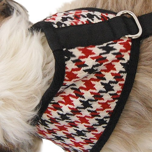 Anima Black and Red and White Houndstooth Harness, Medium