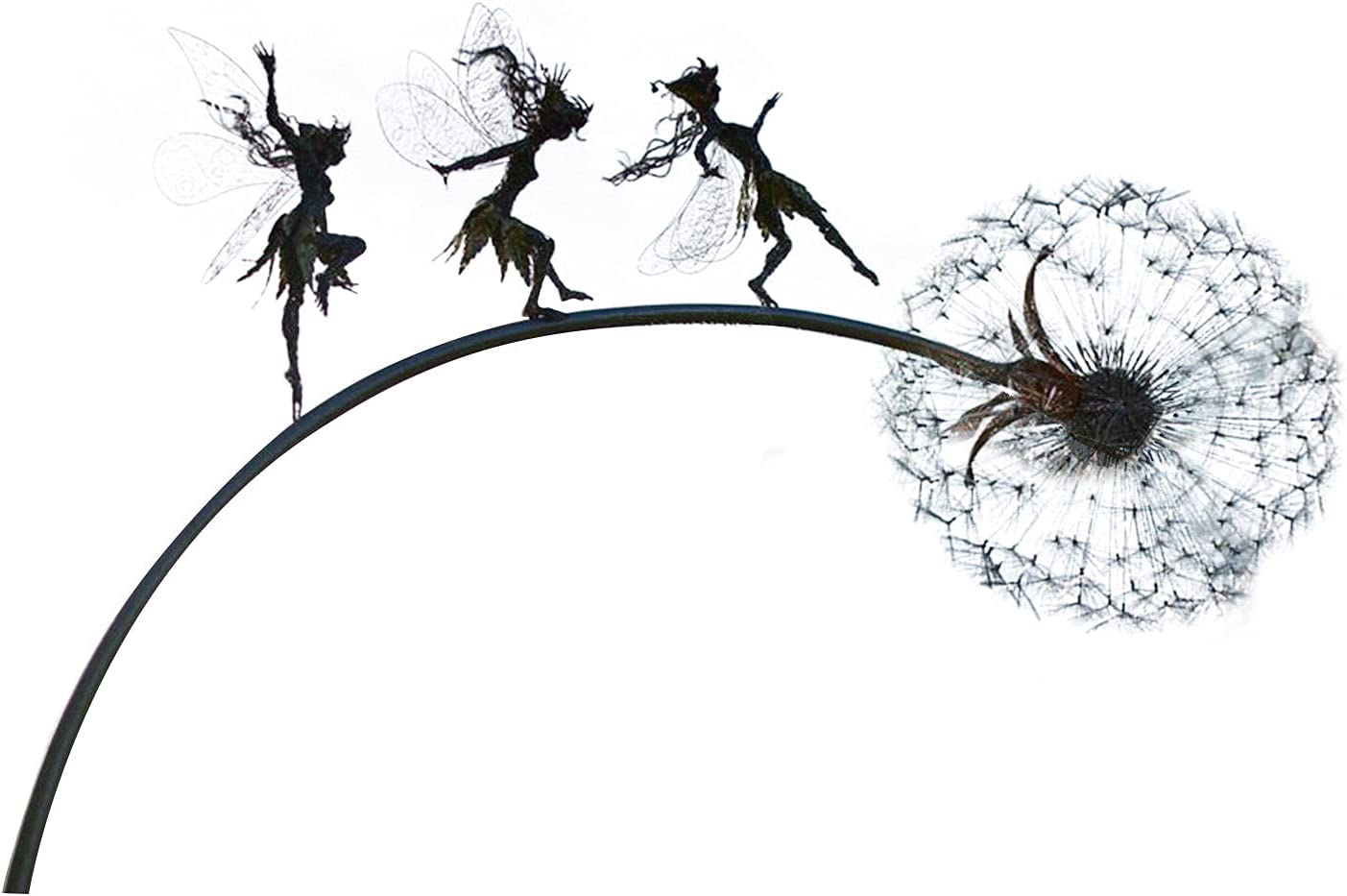 Faries and Dandelions Dance Together Sculpture,Robin Wight Wire Fairy Dandelion Sculptures Garden Stakes with Standing Pole, Dark Metal Art Wind Catcher for Indoor Outdoor Lawn Pathway Ornaments