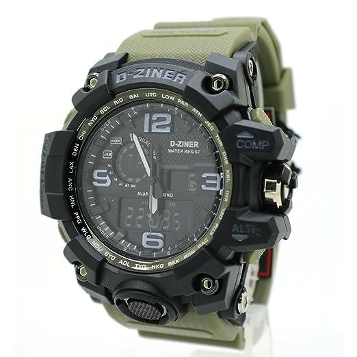 fd3440198233 d-ziner Hombres Digital de los deportes LED militar reloj impermeable  luminoso cronómetro alarma Simple del Ejército reloj  Amazon.es  Relojes