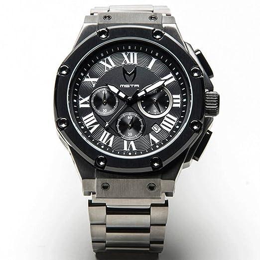 Meister relojes/Mstr relojes hombres del embajador reloj | am127ss | bronce y negro | caso de acero inoxidable y correa de cuero: Amazon.es: Relojes