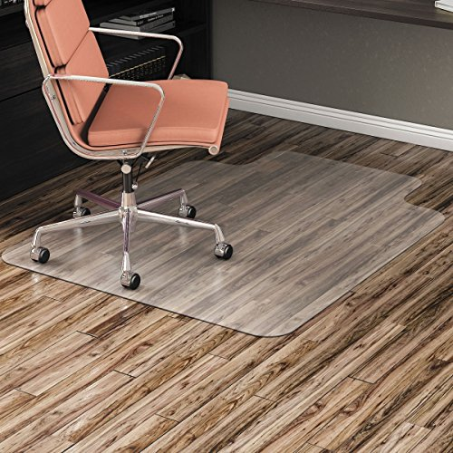 Alera ALEMAT3648HFL Non-Studded Chair Mat for Hard Floor, 36'' x 48'', with Lip, Clear by Alera