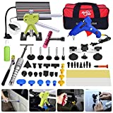 FLY5D 32Pcs Auto Body Car Dent Repair Removal Kit Dent Lifter Slide Hammer Hail Repair Tool Kits Pdr Starter Kits for Door Dings Hail Repair and Dent Removal