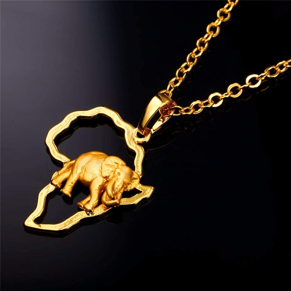Mens necklace Africa Elephant Necklace Silver//Gold Color Trendy African Map Necklaces /& Pendants For Men//Women Fashion Jewelry Gift P776