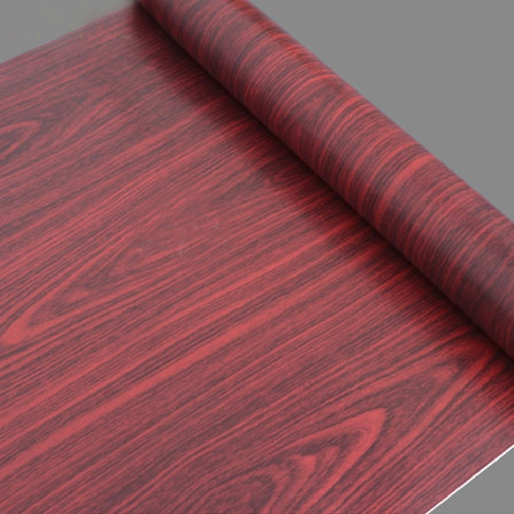 SimpleLife4U Wine Red Wood Grain Contact Paper Pre-pasted Shelf Liner Countertop Door Sticker 17.7inch by 9.8 Feet