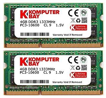 PC3-8500 DDR3 a 1066MHz 204 PIN SODIMM Memoria del computer portatile per Apple Mac Mini 2x 4GB Komputerbay 8GB