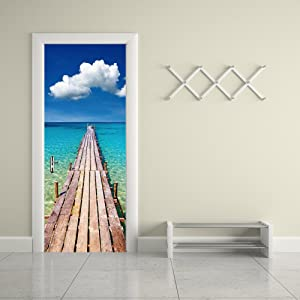 "ChezMax 3D Door Mural Art Sticker Removable Self Adhesive Wall Decal for Home Decoration Beach Pier Pattern 30.3"" w x 78.7"" h"