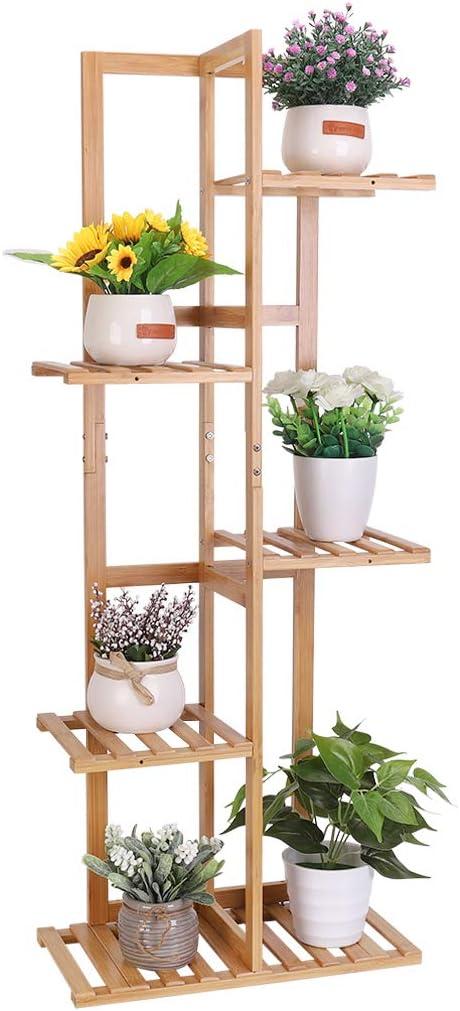 Medla Estantería para Plantas de Bambú, Soporte para Flores con 5 Estantes, Escalera de Macetas para Jardín Exterior Interior Balcón Terraza, 40 x ...