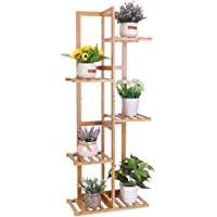 Bamboo Ladder Plant Stand Shelf, Indoor Outdoor Flower Display Stand 6 Plant Pot Stand Storage Rack Shelving Unit for…