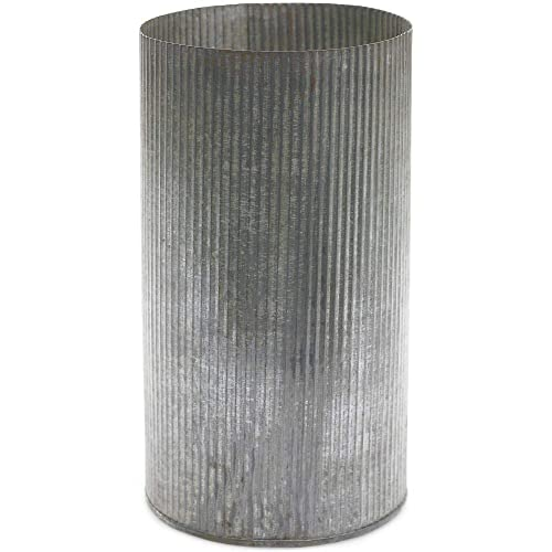 Vase, Metal Cylinder 10.5 H