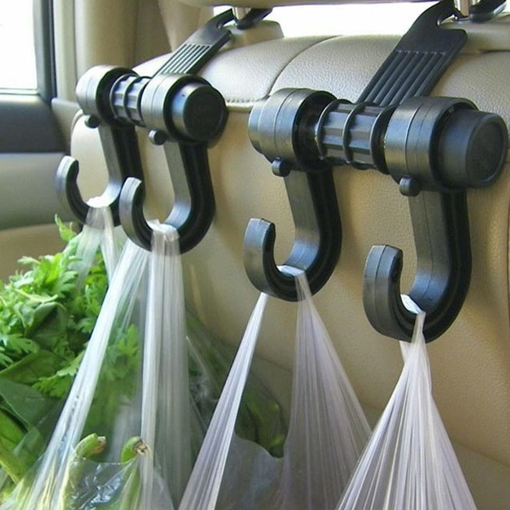 Car Back Seat Headrest Double Hook Hanger Holder Coat Grocery Bags Organizer GETOR